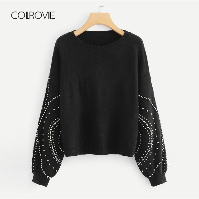 d5ce76d41c COLROVIE Plus Size Black Solid Casual Beads Pearls Sweater Women 2018  Autumn Office Pullover Femme Winter Jumper Ladies Sweaters