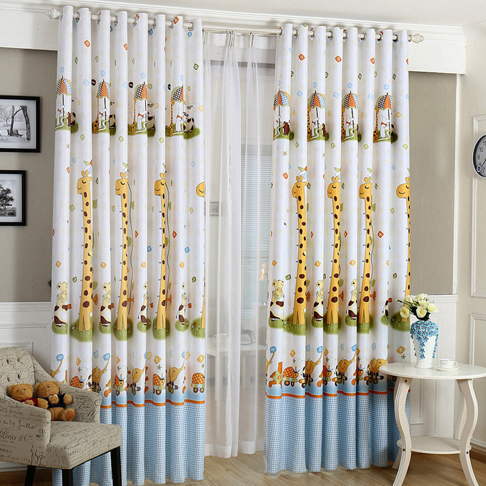 Cartoon Trees Curtains For Kids Boys Bedroom Blinds Linen: Curtains For Children Cartoon Giraffe Boys And Girls Baby