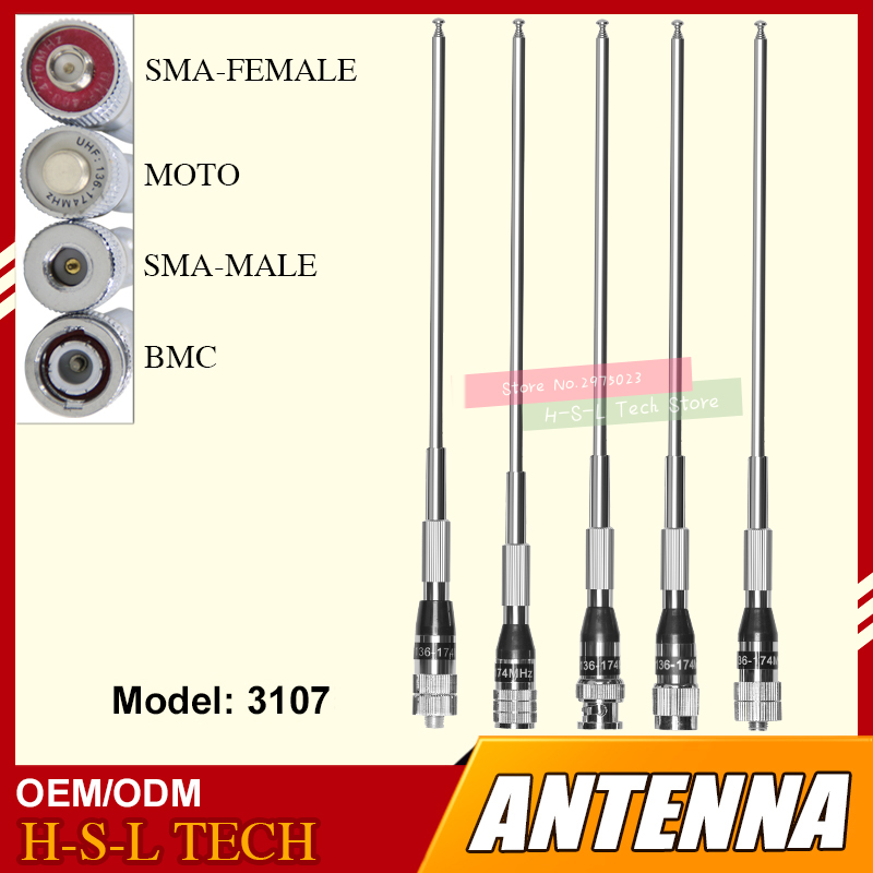 Stainless Steel Telescopic Antenna For Walkie-Talkie BNC/SMA/MOTO 400-470Mhz Or 136-174Mhz Bendable Antenna 27-110CM For Baofeng
