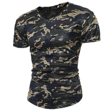 MenS T-Shirt 2017 New Summer Fashion Shirt Camouflage Hole T Casual Short-Sleeved Tops Tees Size M-XXL QDCX