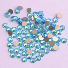 Zziell New 2088 Cut Aquamarine AB Golden Base Rhinestones Non hotfix 16 facets 8+8 Nail Art The Best Quality for Luxury