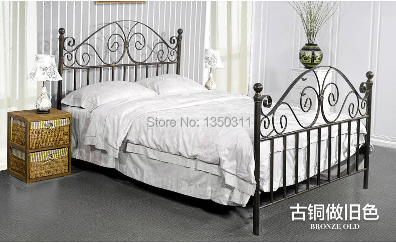 Modern wrought iron metal bed single or double width 1 for Wrought iron bedroom furniture
