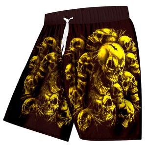 Image 5 - UJWI חדש בתוספת גודל נשים/גברים של 3d גולגולת מודפס מכנסיים קצרים סגול אדום שבור גולגולת מכנסיים להיפ הופ ווק מכנסיים קצרים לוח 5XL