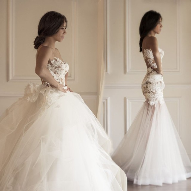 Ball Gown Wedding Dress with Detachable Skirt Tulle Appliques See ...