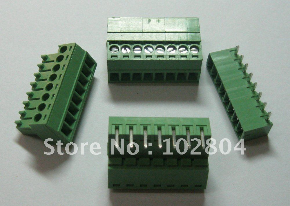 60 pcs Screw Terminal Block Connector Pitch 3 81mm Angle 8 pin way Green Color Pluggable