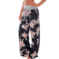 Summer Casual Floral Long Pants Women Fashion Flower Print Lady Girls Straight Loose Pant With Drawstriog Leash