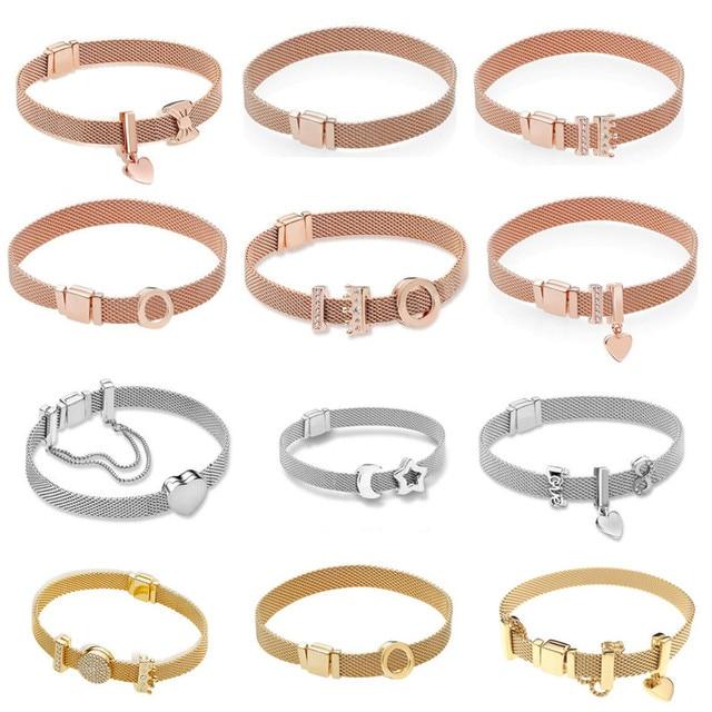 Real 925 Sterling Silver Gold Rose Original Reflexions Pandora Bracelet  Gift Set For Women Bead Charm Bangle DIY Jewelry