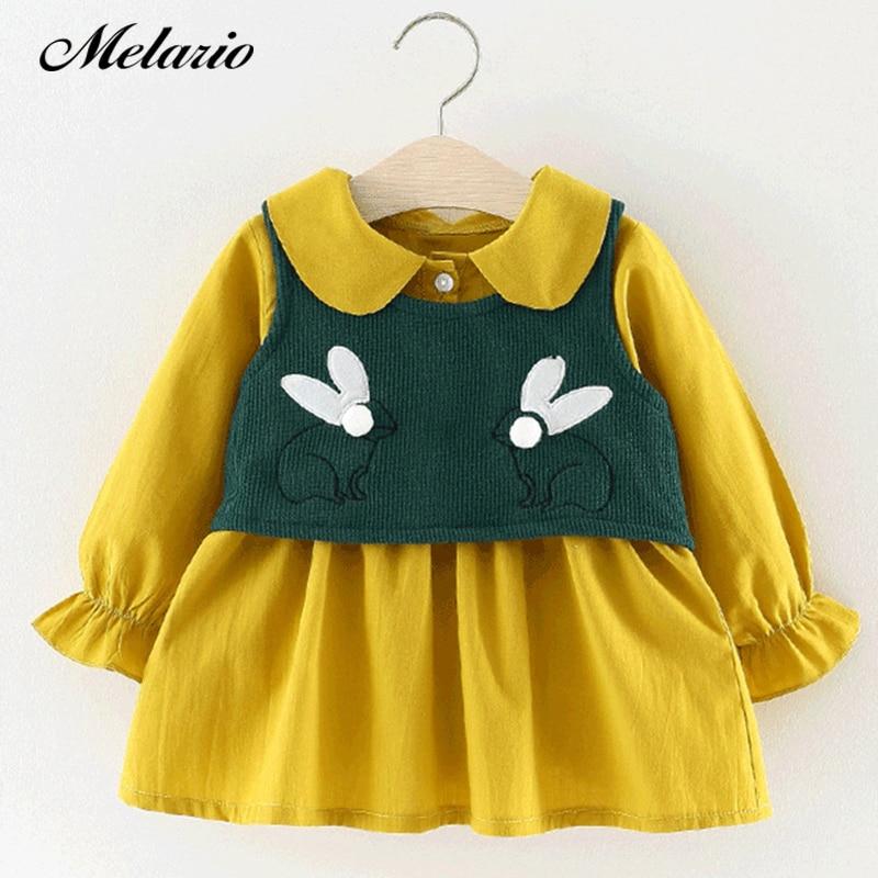 Melario Baby Dresses 2018 Cartoon cute rabbit Baby Girls Clothes Printing Girls Party Dress Princess Dress Suit Newborn Dress