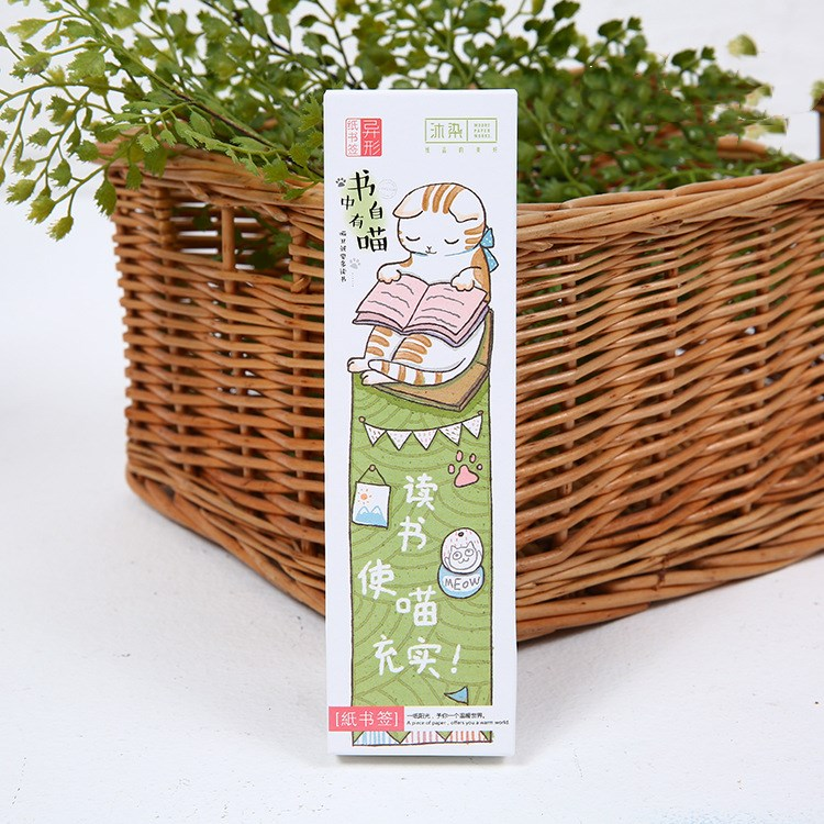 30 Pcs/pack Cat Bookmark Paper Cartoon Animals Bookmark Promotional Gift Stationery For School Supplies