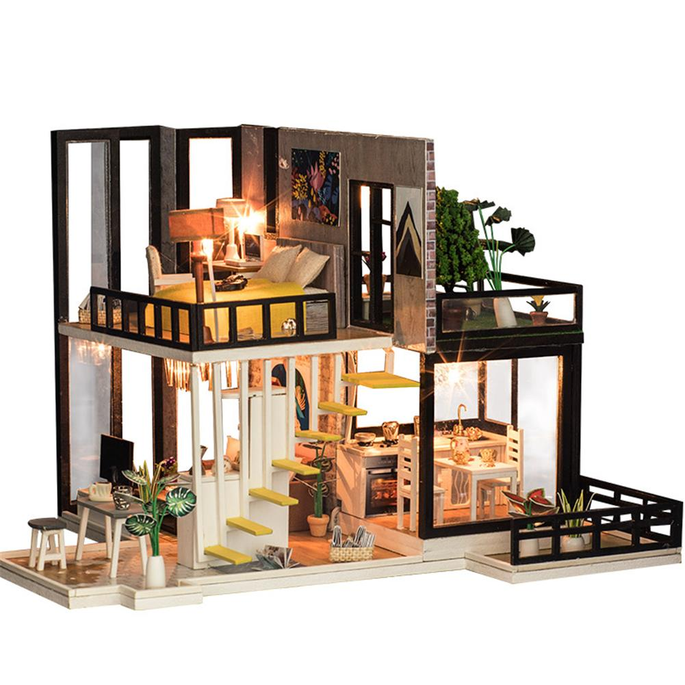 Assembling DIY Miniature Model Kit Wooden Doll House Romantic House Toy with Furnitures Gift for Girl Handmade Craft Toys diy wooden assembling brontosaurus model burlywood