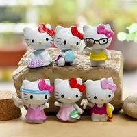 6pcs Mini Hello Kitty Figures Toys Set 4cm Hello Kitty on the Beach PVC Action Figures Toys Collection Model Toy for Kids Fun