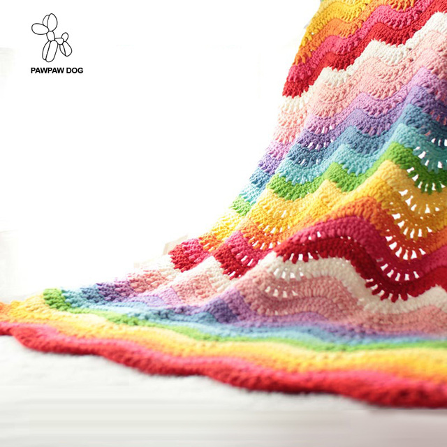 Manta de ganchillo hecho a mano colorido Arco Iris Manta tejer ...