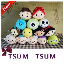 3 5Inch TSUM TSUM Mini Plush Toys Stitch Alice Lilo Jack Sully Dolls pendant doll phone