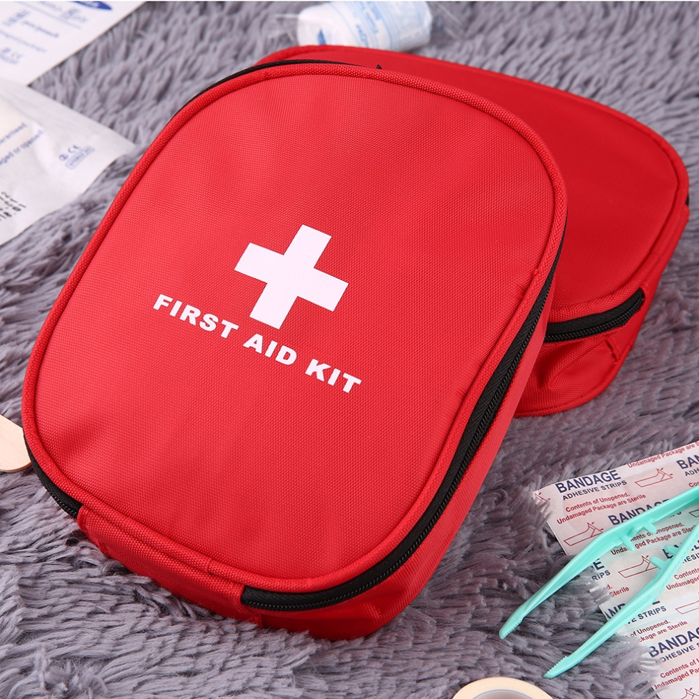 Outdoors Nylon Waterproof Emergency Medical Bag Home Camping First Aids Kits Bag Rescue Pouch Waist Hanging Cross Zipper Pockets