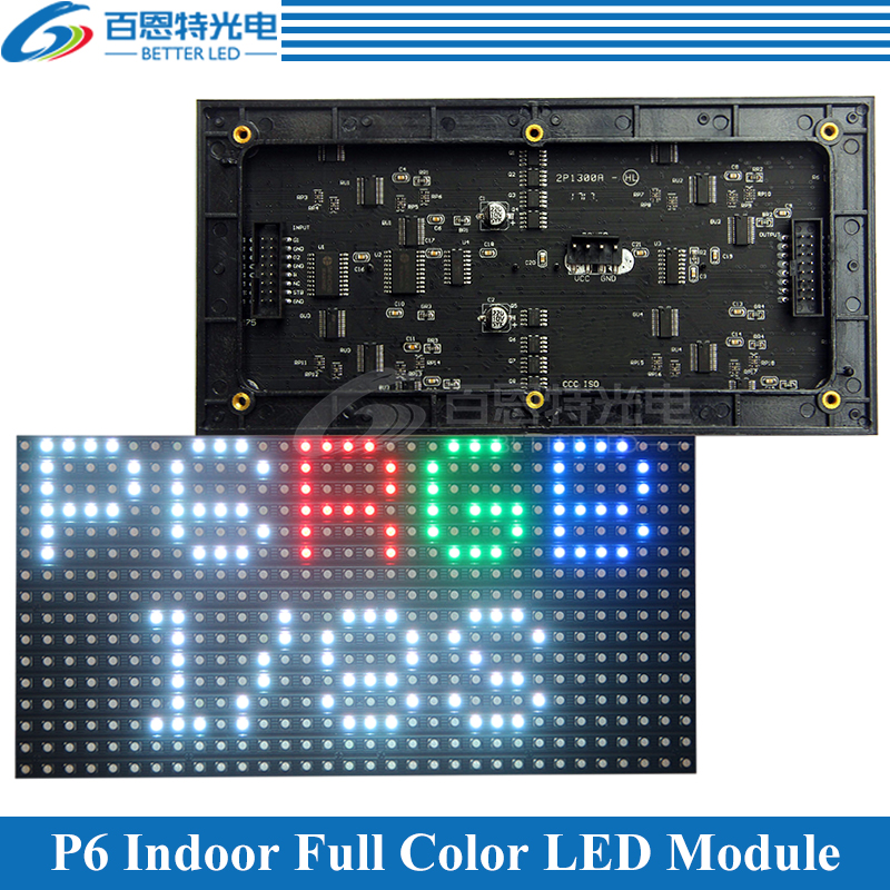P6 LED Screen Panel Module Indoor 192*96mm 32*16 Pixels 1/8 Scan 3in1 SMD3528 Full Color P6 LED Display Panel Module