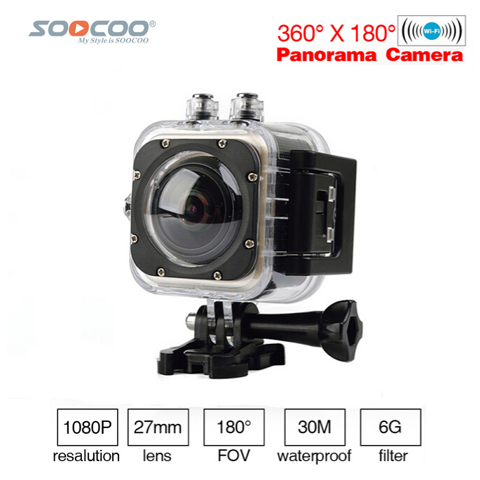 SOOCOO C-UBE360S WiFi 1.5inch 30M Waterproof Mini Sports Action Camera 360 Wide-Angle Cameras Wide-Angle 360*180 HD Video CameraSOOCOO C-UBE360S WiFi 1.5inch 30M Waterproof Mini Sports Action Camera 360 Wide-Angle Cameras Wide-Angle 360*180 HD Video Camera