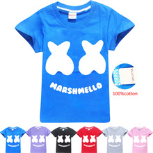 Pure Cotton! Marshmello T Shirt DJ Music Childrens T-shirt in the Big short-sleeved Summer 8429