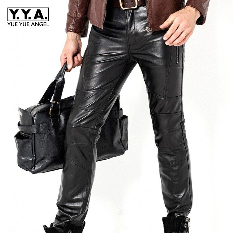 Настоящие кожаные брюки, мужские плотные кожаные брюки из козьей кожи, прямые тонкие ветрозащитные мотоциклетные мужские новые модные длин