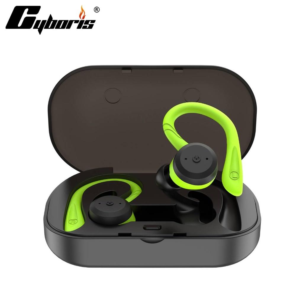 CYBORIS Bluetooth 5.0 Casque TWS Double casque Bluetooth Vrai Sans Fil IPX7 Étanche avec Oreille-crochet In-Ear Bruit Annulation