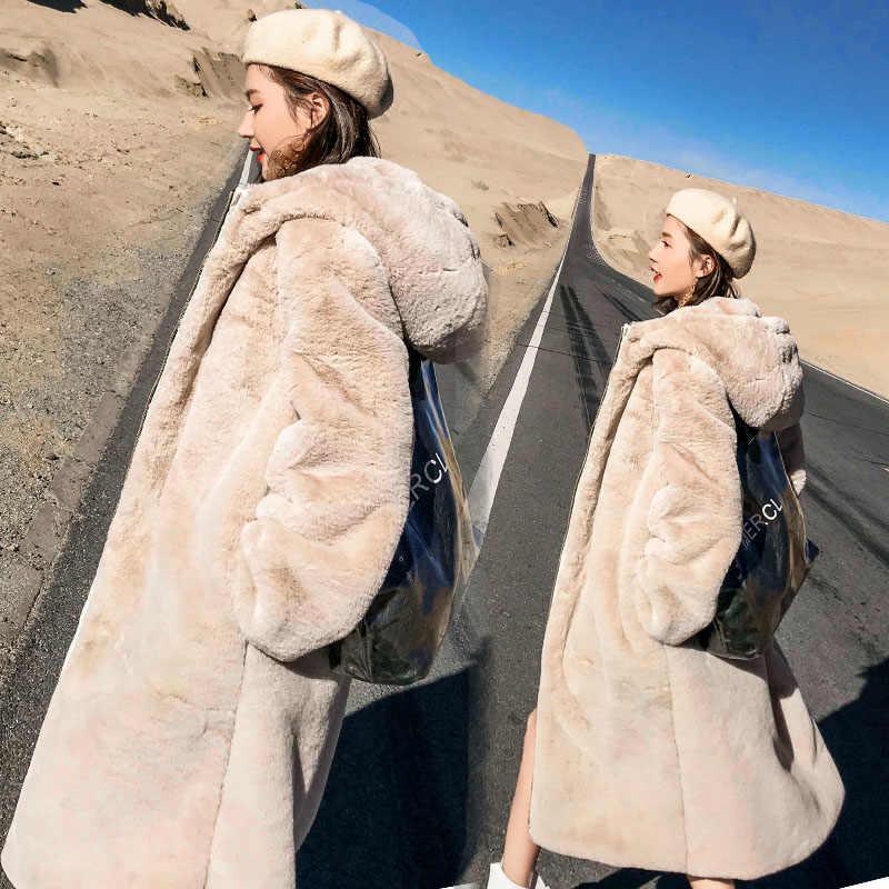 החורף חם סלעית גדול גודל בינוני אורך מוצק צבע פרווה & פו פרווה נשים 2019 חדש מזדמן ארוך שרוול נשים פרווה מעיל LH224