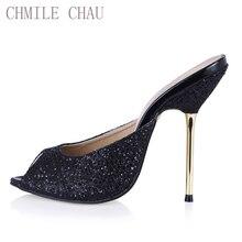 CHMILE CHAU Glitter Sexy Wedding Shoe Women Peep Toe Thin High Heels Bridal Lady Sandal Plus Sizes 10 Zapatos Mujer 3845-FA12