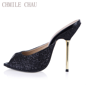 CHMILE CHAU Glitter Sexy Wedding Shoe Women Peep Toe Thin High Heels Bridal Lady Sandal Plus Sizes 10 Zapatos Mujer 3845-FA12