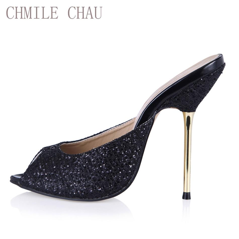 CHMILE CHAU Glitter da sposa sexy scarpe da donna Peep Toe Tacchi - Scarpe da donna