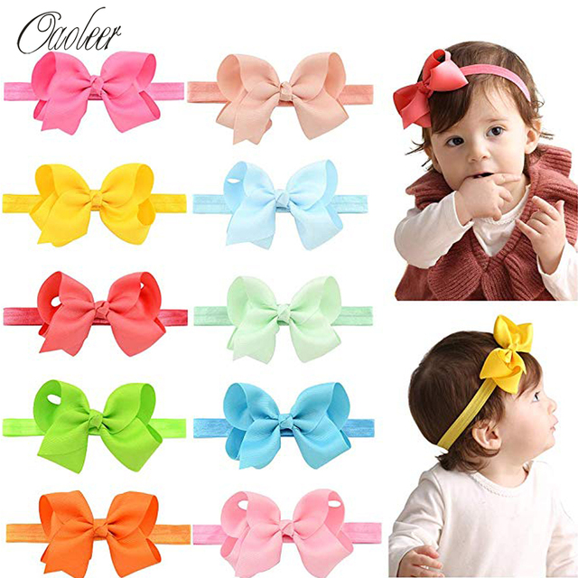 20 Pcs/Lot 4.5 Inch Headbands with Stretchy Bands for Girls Grosgrain Ribbon Pom Pom Hair Bows for Kids Hair Accessories
