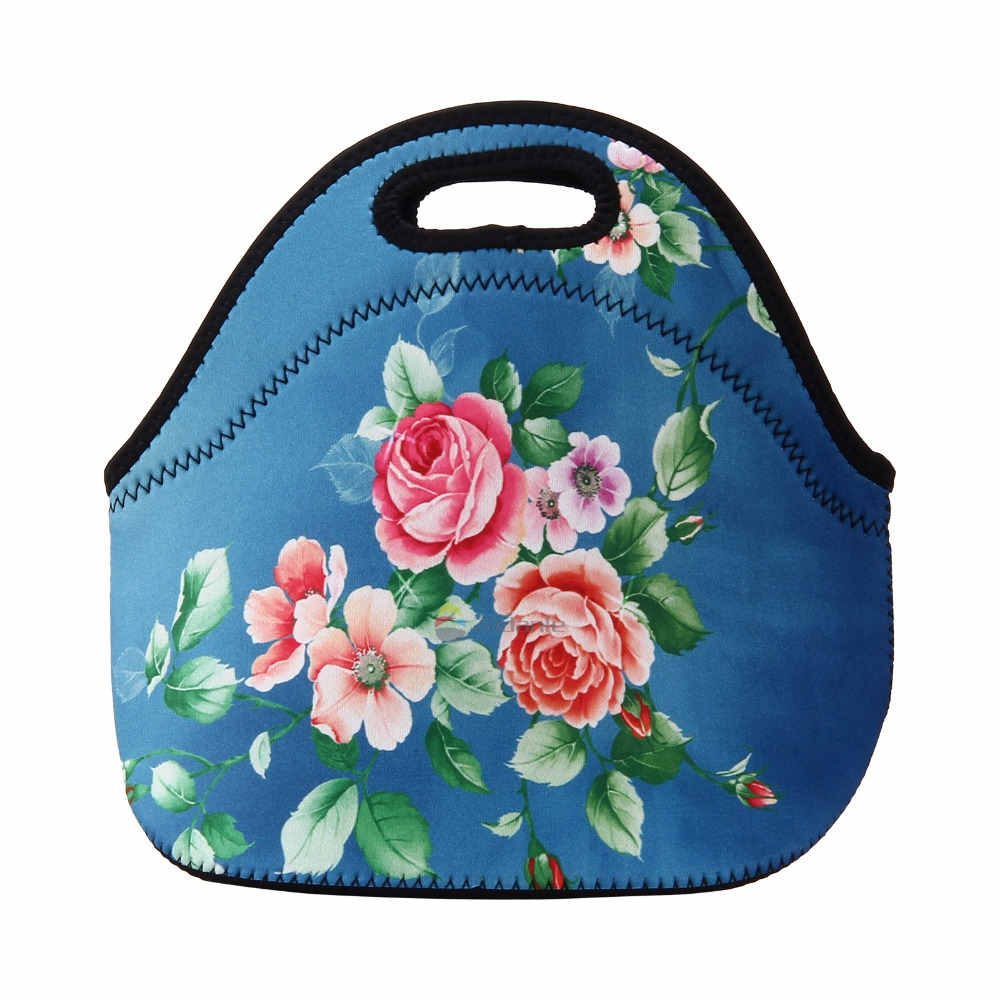New Cute Flowers Prints Neoprene Thermal Portable Lunch Bag Women Kids Baby Casual Bags Box Tote Waterproof Food Container