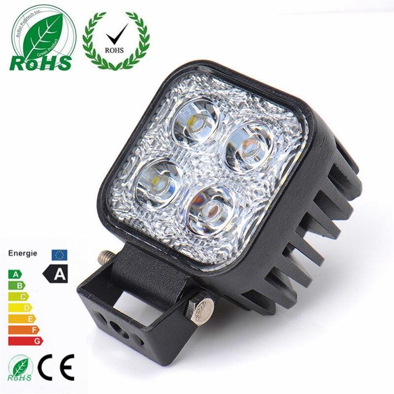 10PCS 12W Car LED Offroad Work Light Bar for Jeep 4x4 4WD AWD SUV ATV Golf Cart 12v 24v Driving Lamp Motorcycle Fog Light