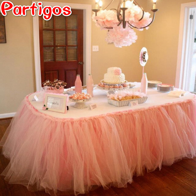 2M Tulle Thicken Table Skirt DIY Tutu Tableware Skirts For Wedding Birthday  Decoration Baby Shower Favors