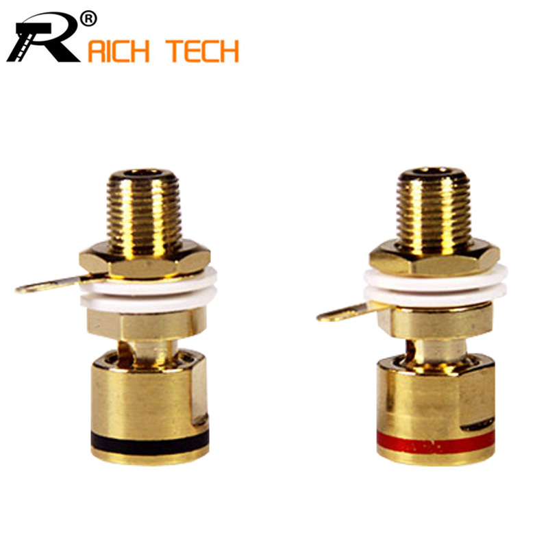 1pair High quality Copper Gold plated Connector Speaker banana plug BINDING POST terminal banana socket for Speaker Amplifier speaker binding posts terminal 4mm sockets 5pcs black for banana plugs