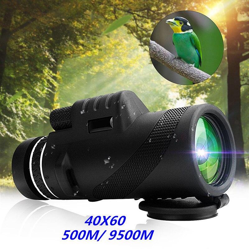 Novedad 40X60 día y visión nocturna doble enfoque HD óptica Zoom Monocular telescopio impermeable súper claro para caza al aire libre