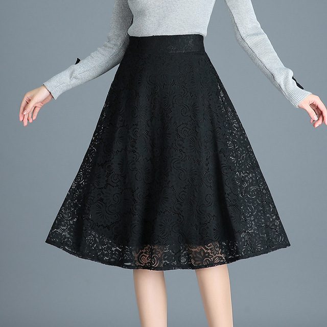 2db475e0896 2018 Autumn Winter Lace Sexy Skirts women korean slim Casual High Waist  elastic A Line Skirt plus size Black midi Skirt 2XL