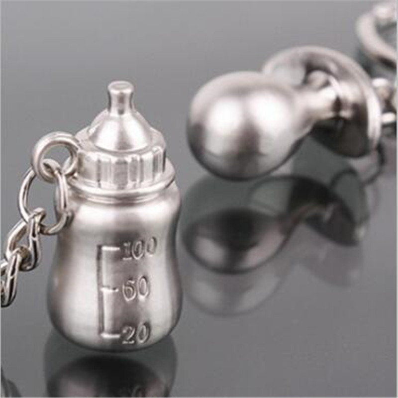WKOUD New Pacifiers Baby Feeding Bottles Key Chain Lover's Keychain Lovely Couple Key Chain Rings
