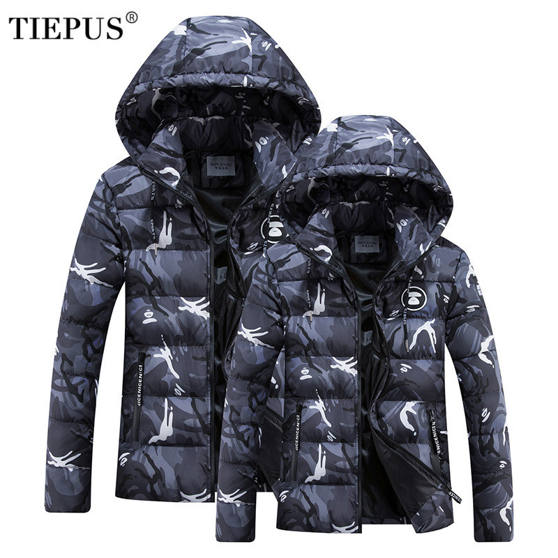 TIEPUS Winter Jacket Men light Cotton Padded down jacket coat Clothing warm Male camoufl ...