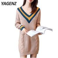 YAGENZ Women Sweater 2017 Autumn Winter Korean Loose Long Sleeved Knitwear Sweater V Neck Medium Long