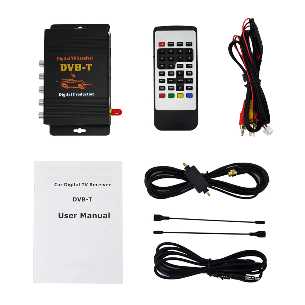 Car Four Tuner Way Single Antenna DVB T MPEG 4 External Digital mobile TV receiver