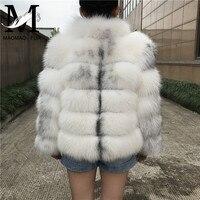 Women Winter Real Fox Fur Coat Stand Collar Fox Fur Jacket Long Sleeve Natural Fur Coat Fashion