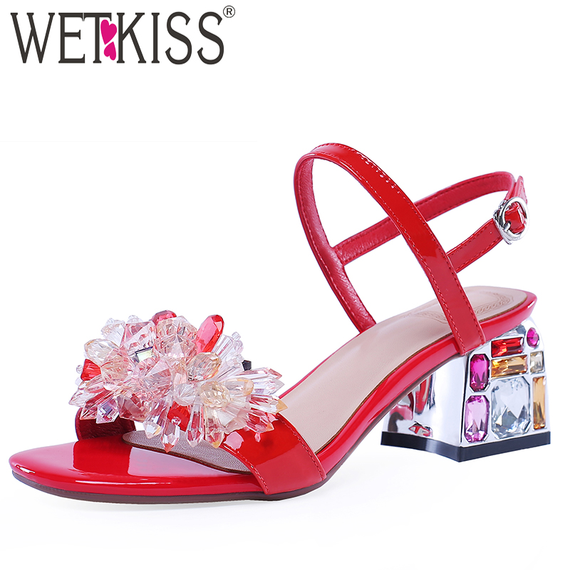 WETKISS Crystal Heels High Sandals Women Open Toe Footwear Patent Leather Shoes Female Fashion Wedding Shoes