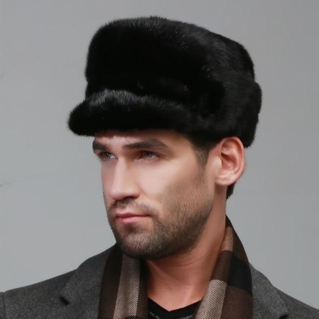 winter Super warm snow show men ear muffs rex mink model same Russian style cap autumn male luxur fur hat hair handsome fur