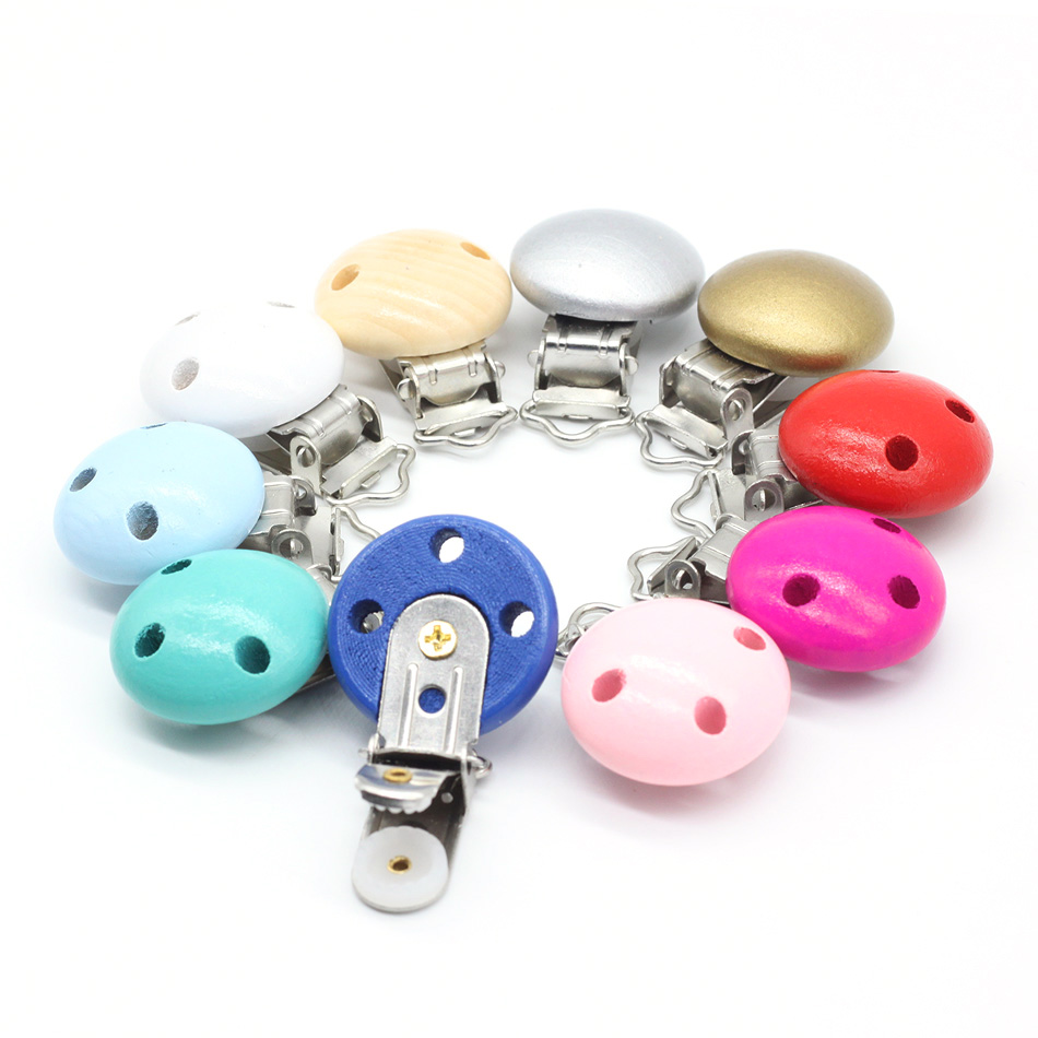 10pcs Round Shape Pacifier chain clip, pacifier clip, silicone clip selectable Silicone Teething Beads Suspender Clip