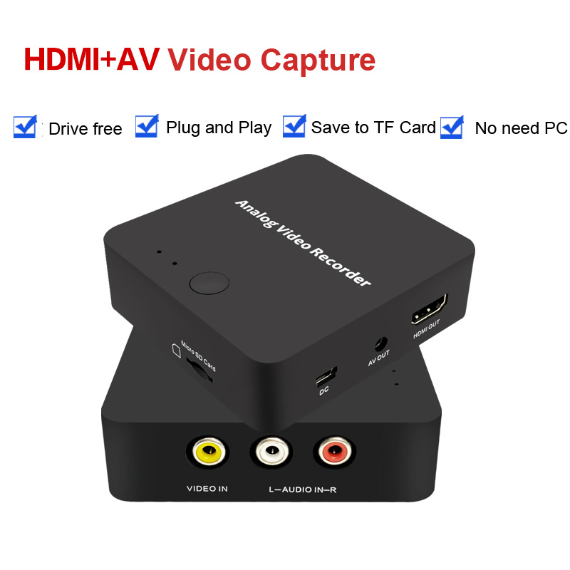 Analog AV Recorder old video tape camcorder VHS VCR DVD DVR 8mm Hi8 HDMI Video Capture to digital format to TF Card,NO Need PCAnalog AV Recorder old video tape camcorder VHS VCR DVD DVR 8mm Hi8 HDMI Video Capture to digital format to TF Card,NO Need PC