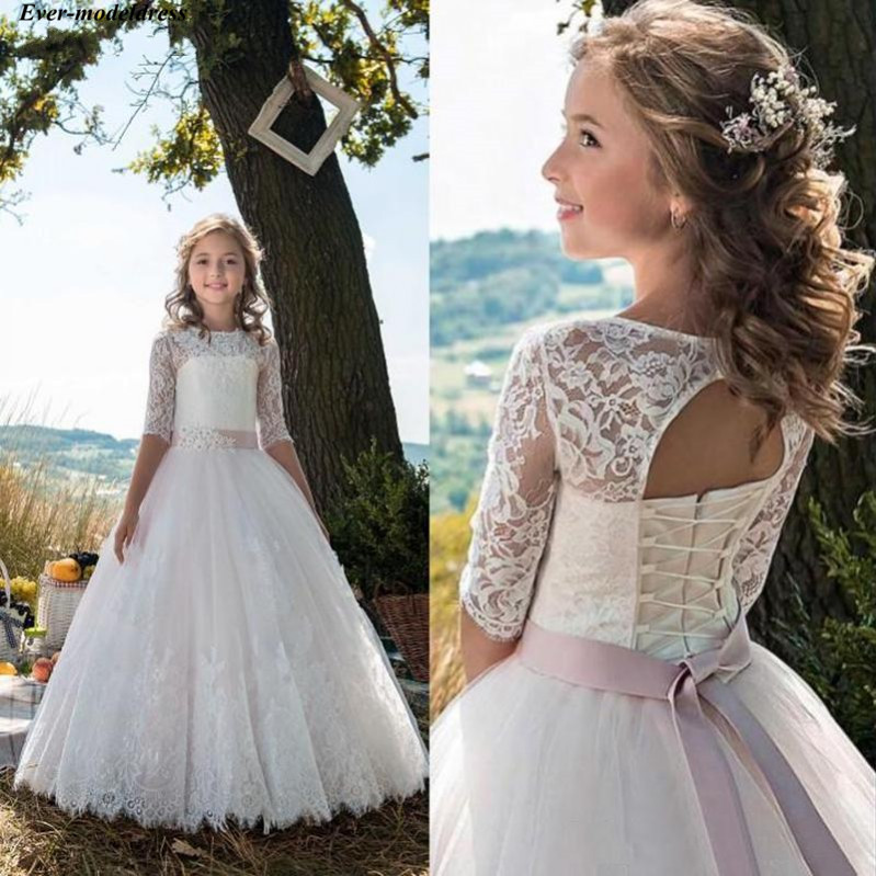 Gorgeous   Flower     Girl     Dresses   for Weddings A-Line Half Sleeves Floor Length Lace Up Back Long First Communion Pageant Gowns 2019