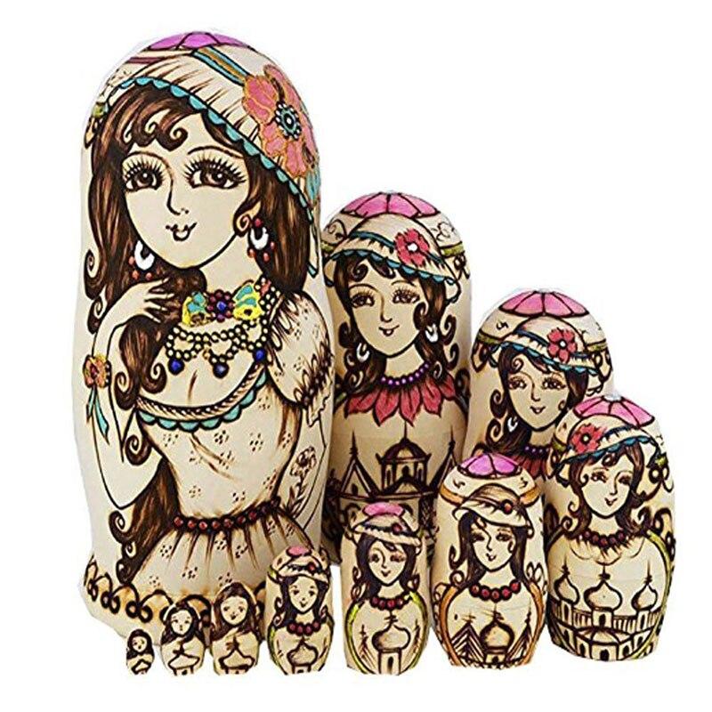10 Pcs/1 Set Russian Matryoshka Doll Beautiful Girls Lady Nesting Dolls Wooden Hand Painted Craft for Kid Gift @ZJF