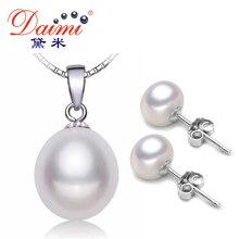 Даими пресной изысканные перл жемчуг устанавливает серебра кулон серьги ожерелье воды
