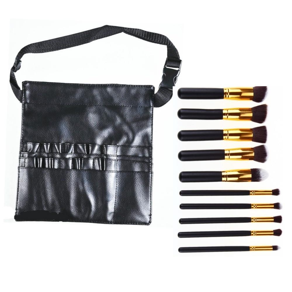 10Pcs Superior Pro Soft Cosmetic Make Up Brush Set Toiletry Kit Makeup Brushes Kabuki Brush And Synthetic Leather Makeup Bag