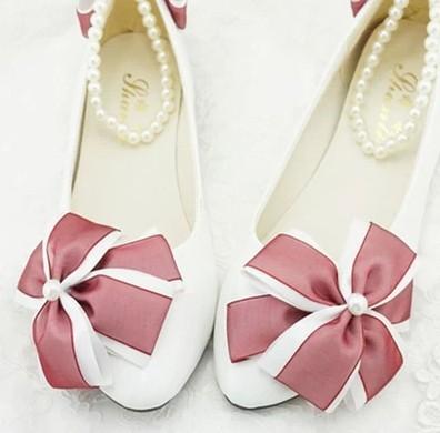 2017 ribbons bow pearl beadings flat bridal shoes bridesmaid shoes handmade formal flats dress wedding shoes white