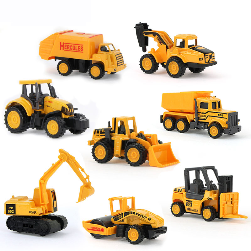 1 Piece Mini Diecasts Car Mutiple style Alloy Construction Vehicle Engineering Car Dump Truck Artificial Model Toy For boy kids