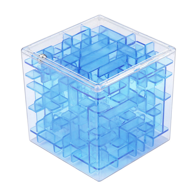 New Blue 3D Cube Puzzle Money Maze Bank Saving Coin Collection Case Box Fun Brain Game Kid Toys For Children Intelligent Improve